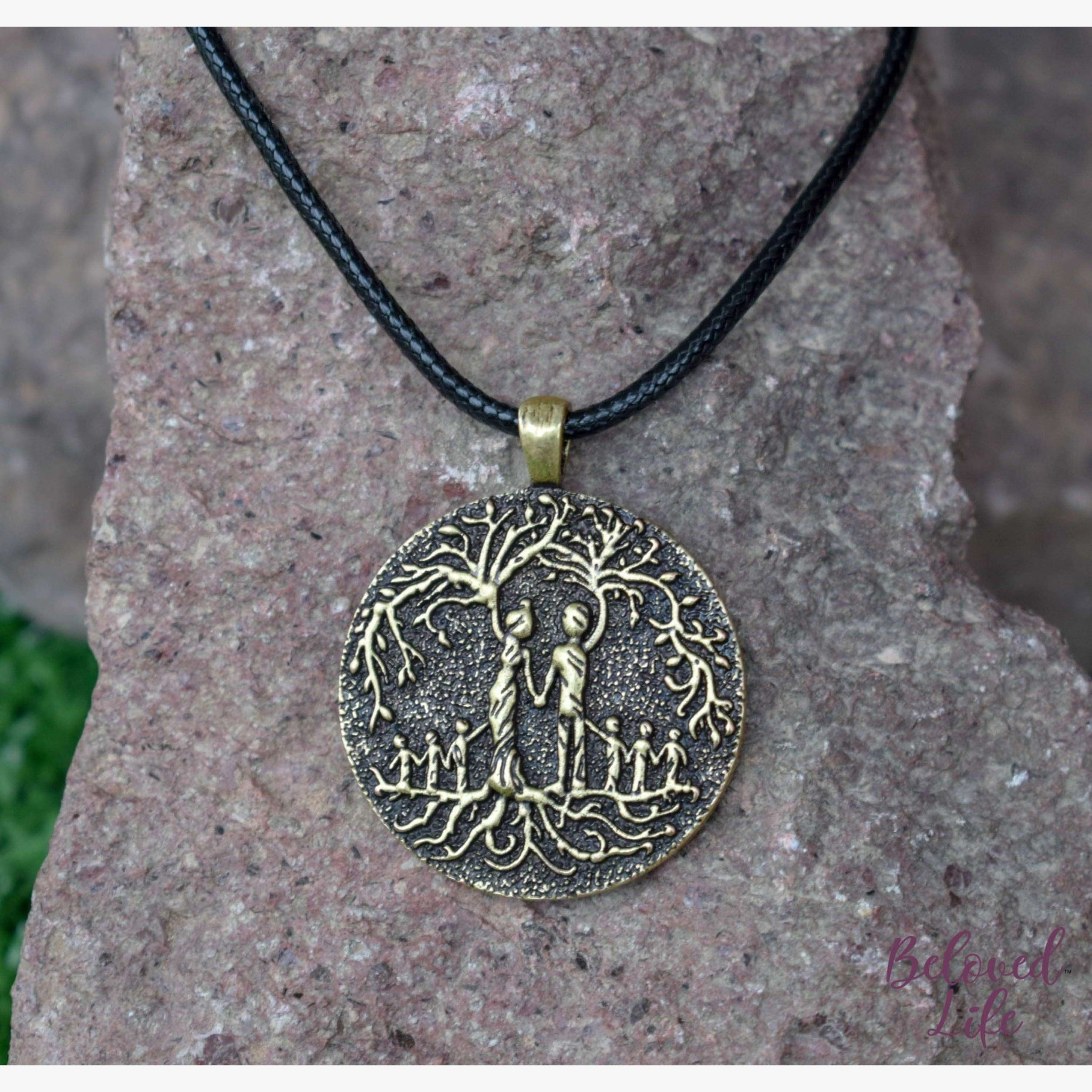 Beloved Life Jewelry: Parents & 6 Child 'Tree of Life' Pendant Necklace [Bronze]
