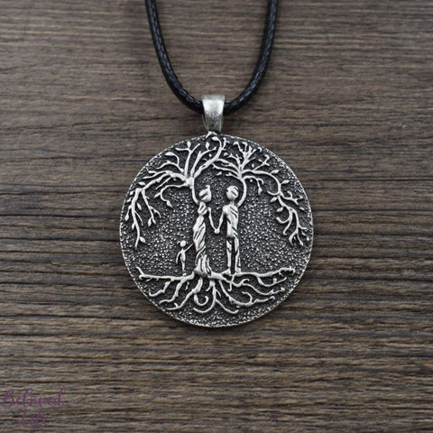 Beloved Life Jewelry: Parents & Daughter 'Tree of Life' Pendant Necklace [Silver]