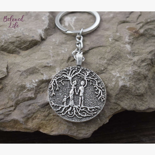 Beloved Life Jewelry: Parents & Son 'Tree of Life' Pendant Keychain [Silver]