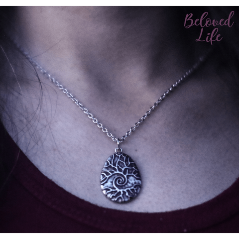 Beloved Life Jewelry: Raindrop 'Tree of Life' Pendant Necklace [Silver]