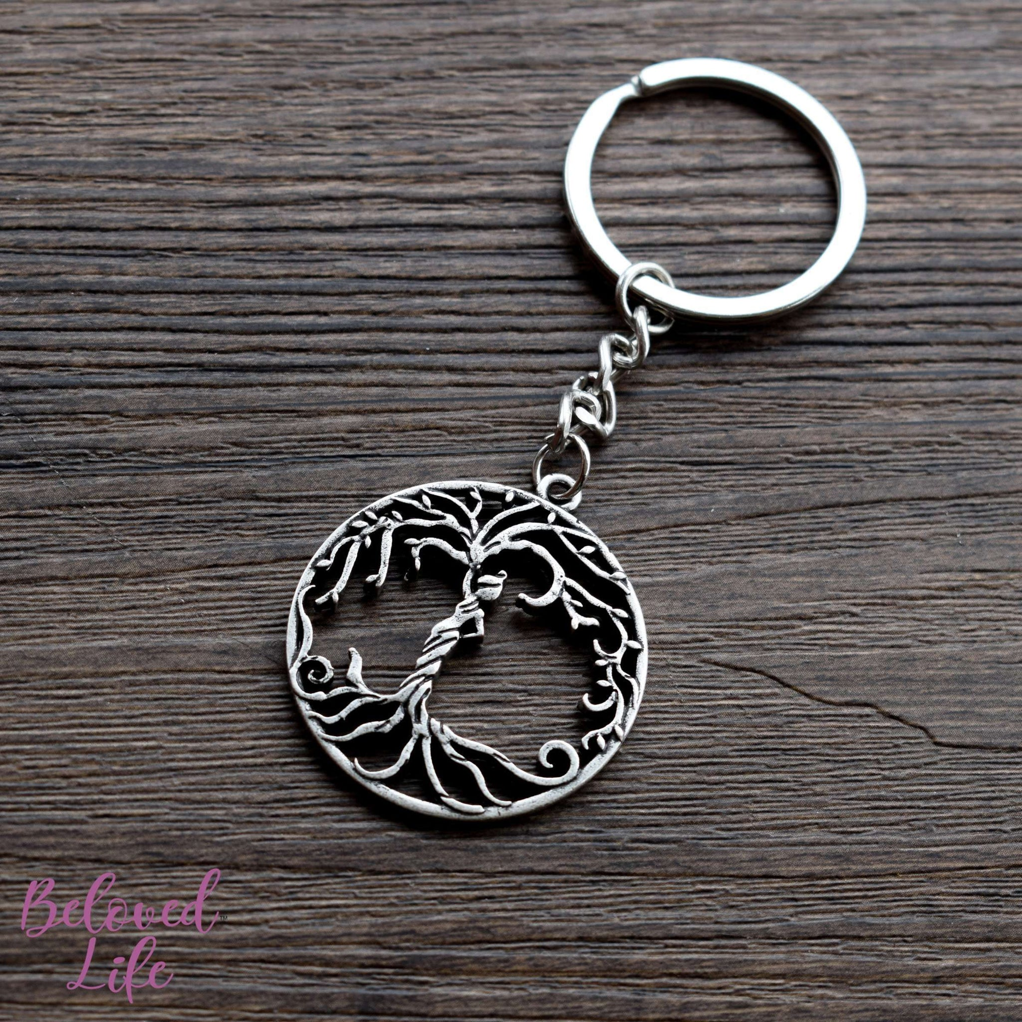 Beloved Life Jewelry: Woman 'Tree of Life' Hollowed-Out Pendant Keychain [Antique Silver]