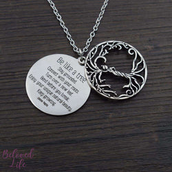 Beloved Life Jewelry: Woman 'Tree of Life' Hollowed-Out + Quote Pendant Necklace [Antique Silver]