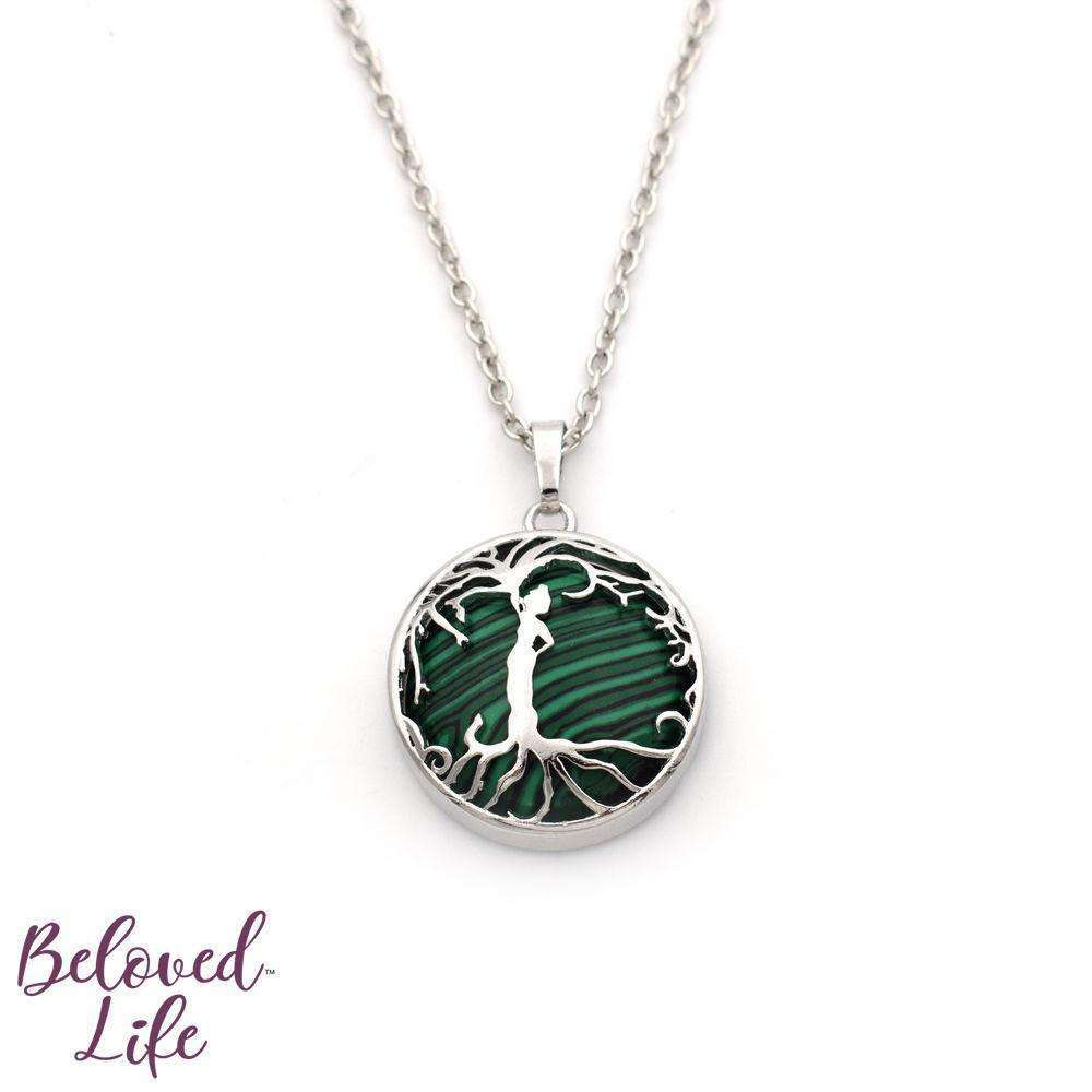 Beloved Life Jewelry: Woman 'Tree of Life' Over Gemstone Pendant Necklace [Silver]