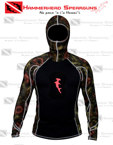 Hammerhead Spearguns Ambush 1mm Long Sleeve Neoprene Freediving Rash Guard Wetsuit w/ Hood Deep Reef