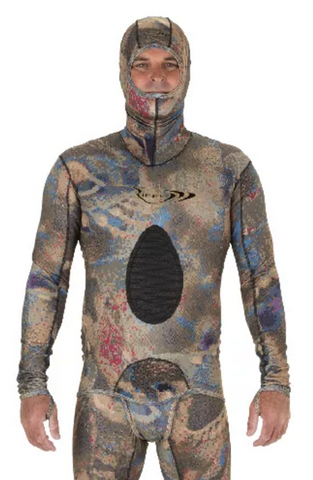 Riffe Covi-Tek Camo Lycra  Freediving Wetsuit Top w/ Velcro Beaver Tail and Hood