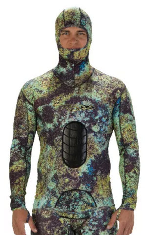 Riffe Digi-Tek Camo Lycra Freediving Wetsuit Top w/ Velcro Beaver Tail and Hood