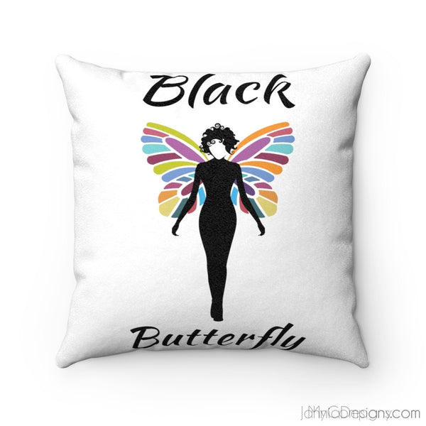 Black Butterfly Faux Suede Square Cushion