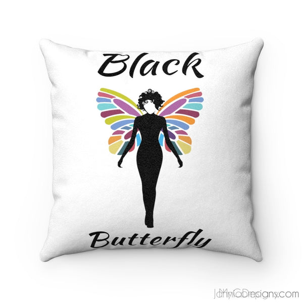Black Butterfly Faux Suede Square Cushion-Home Decor-Jahnia Designs