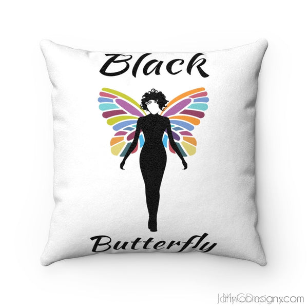 Black Butterfly Faux Suede Square Pillow Case