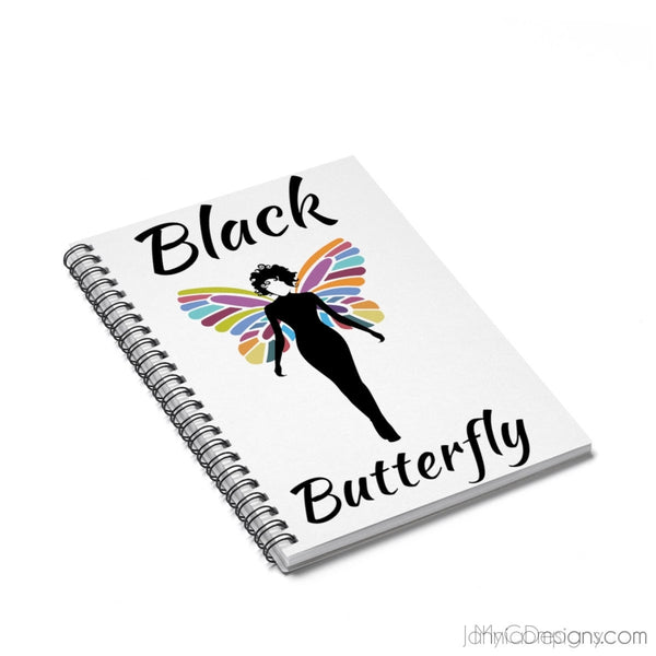 Black Butterfly Spiral Notebook - Ruled Line-Paper products-Jahnia Designs