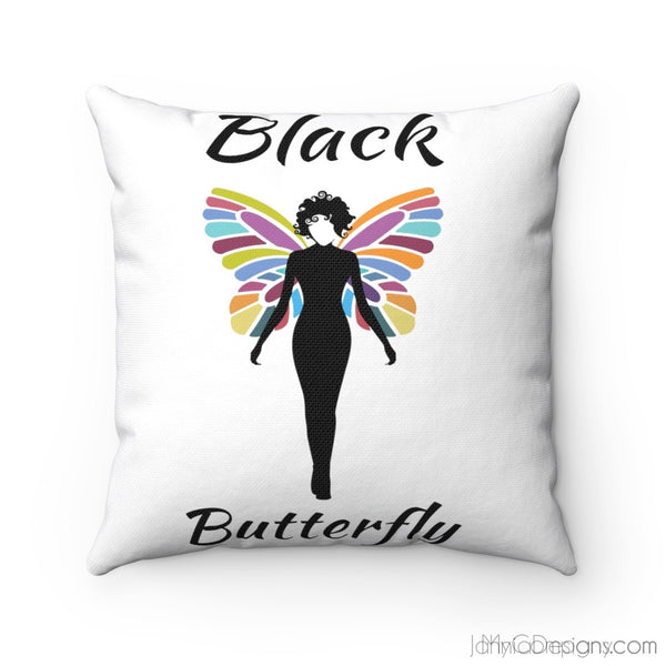 Black Butterfly Spun Polyester Square Cushion
