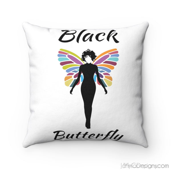 Black Butterfly Spun Polyester Square Pillow Case-Home Decor-Jahnia Designs