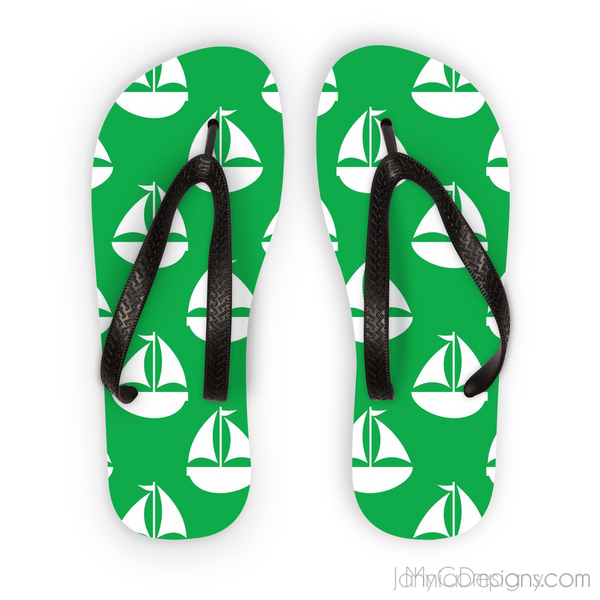 Green Nautical Flip Flops