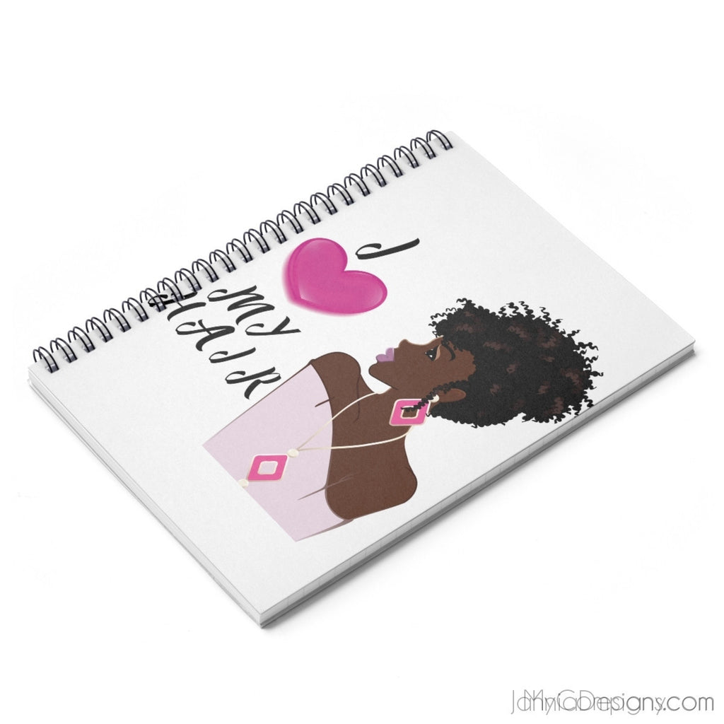 I Love My Hair Spiral Notebook - Ruled Line-Paper products-Jahnia Designs