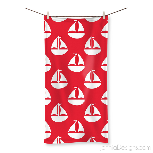 Red Nautical Beach Towel-Homeware-Jahnia Designs