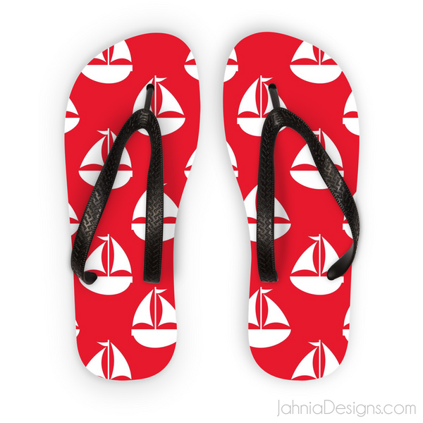 Red Nautical Flip Flops-Accessories-Jahnia Designs