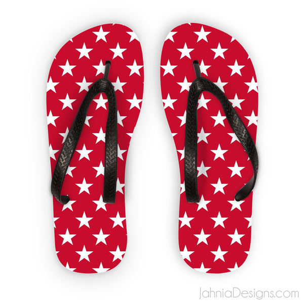 Red Superstar Flip Flops