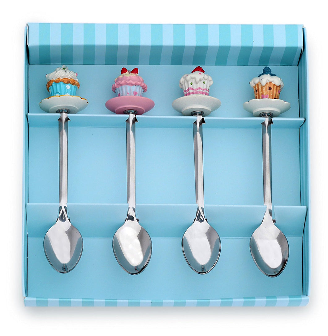 Meshberry Dessert Serving Spoons - Gift Set for Party & Birthday - with Souvenir Cupcakes - Ideal for Sweet Bar Appetizer