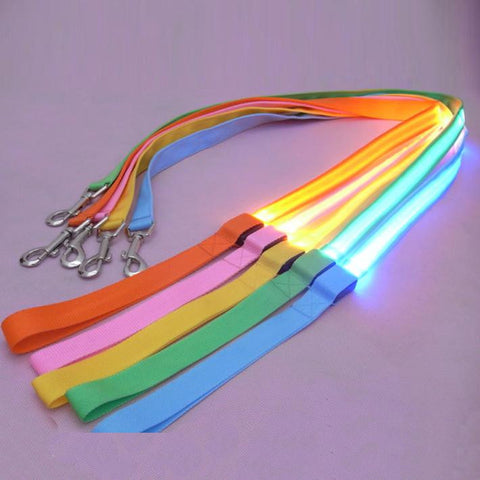 LED Pet Leash with Safety Glow! 1 inch width x 47 inch length - Cat & Small Dog LED Leash