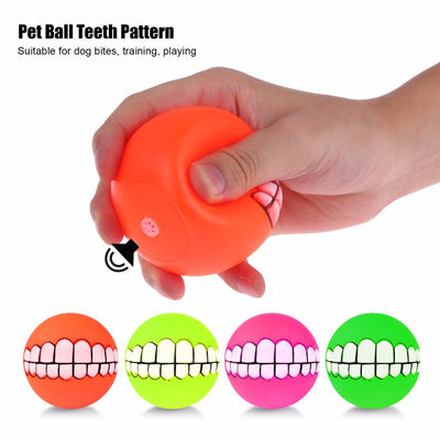 Funny Teeth Silicon Squeeky Dog Ball ---- Random Colors