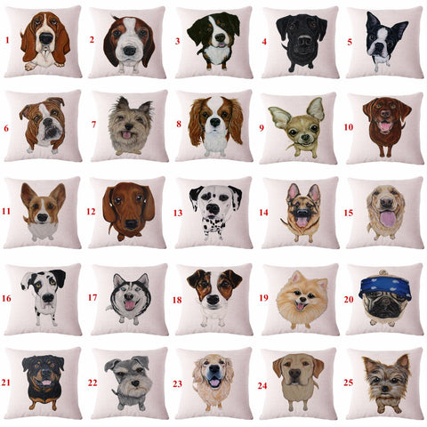 Adorable Dog Throw Pillows Cases :: 25 Styles! --- 17.5 X 17.5 inches
