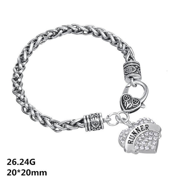 Runners Crystal Heart Bracelet