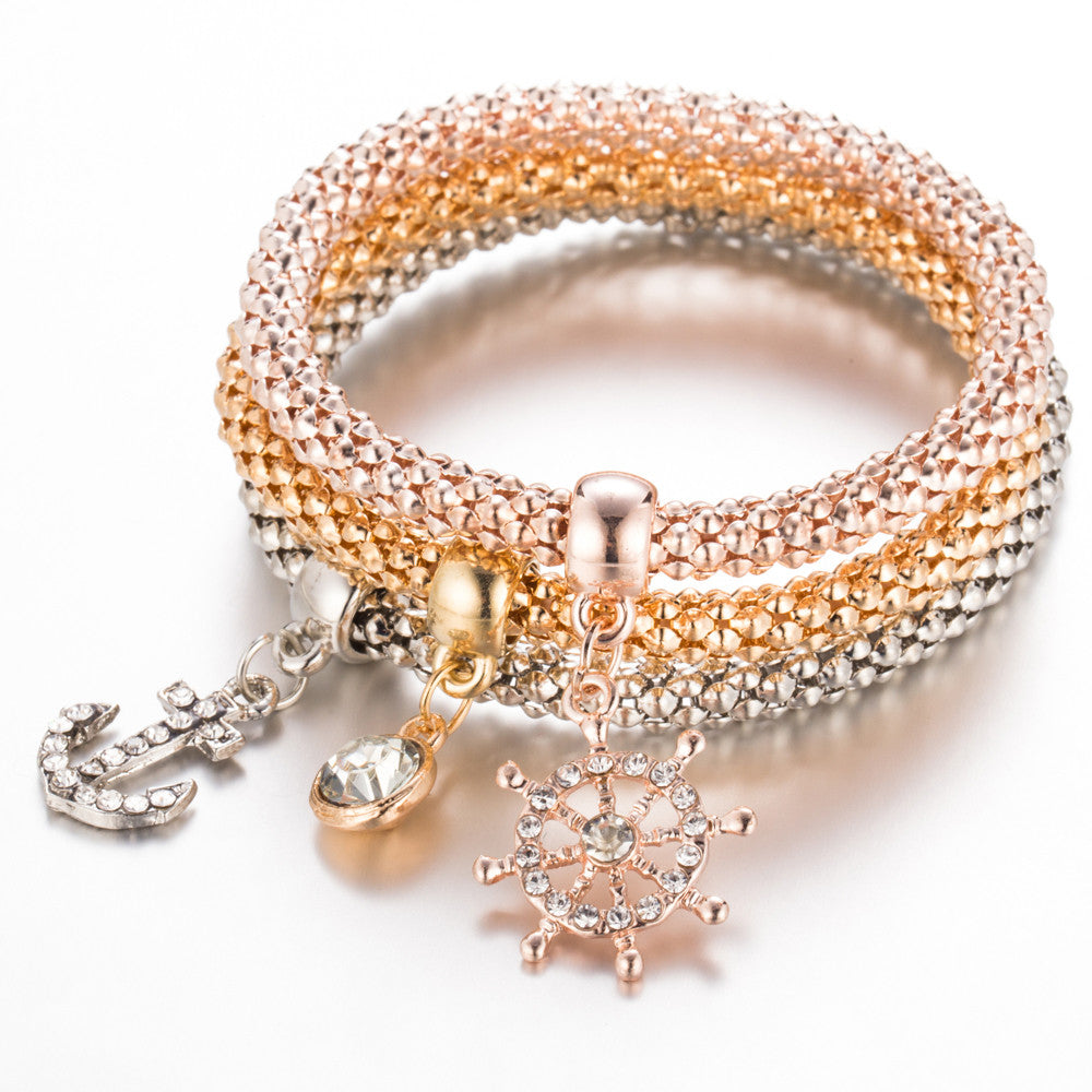 3Pc Girls Charm Elastic Bracelet Gold/Silver Plated – IMall Gallery