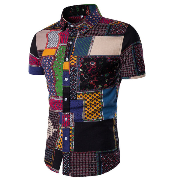 Shirts Mens African Style Short Sleeves