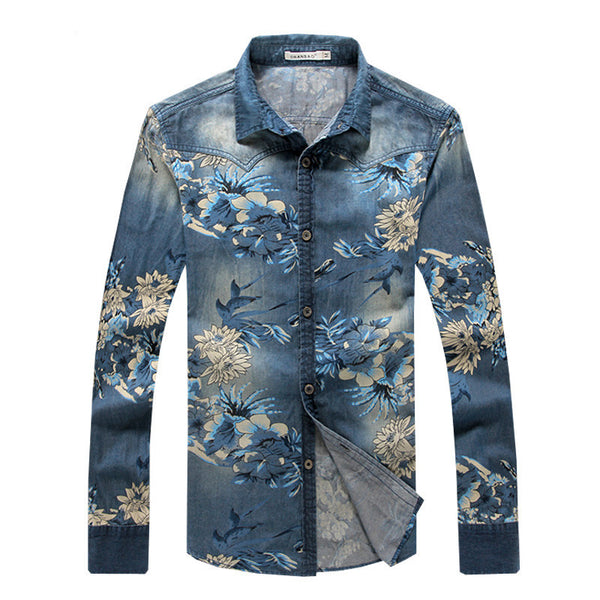 Mens Floral denim shirt