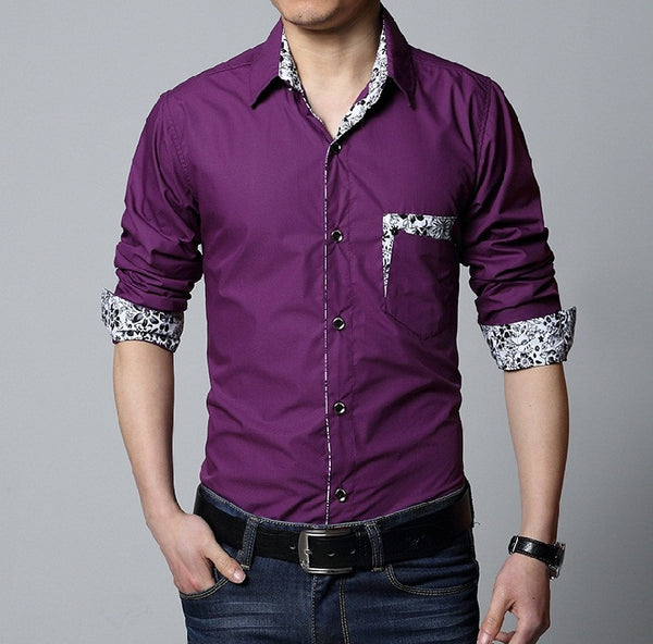 Casual Mens Shirt Long Sleeve 3 colors