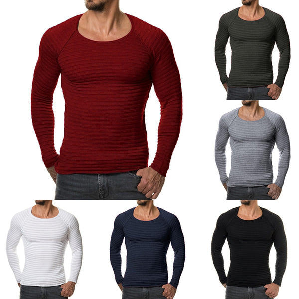 Mens slim pullover long sleeve 6 colors
