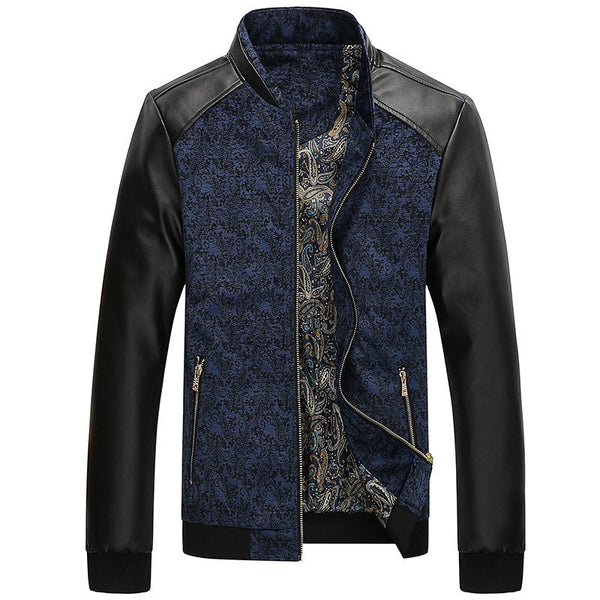 Autumn Slim Mens Jacket Leather available 3 colors Blue/ Yellow/ Red
