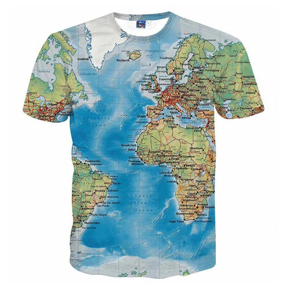 Men's T-Shirt 3d World Map