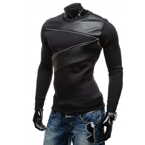 Hoodie Leather Patchwork