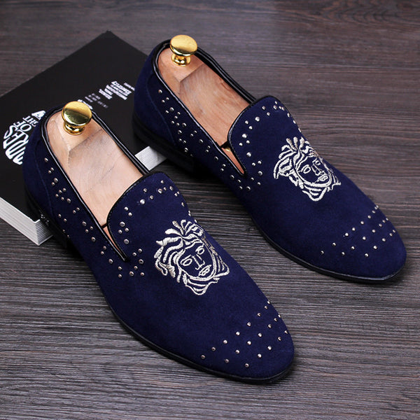 Men velvet leather shoes available in 3 colors Black/ Blue/ Red