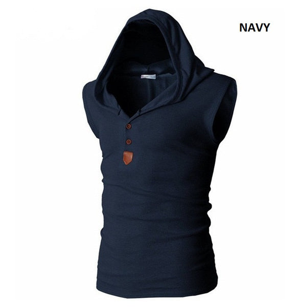Sleeveless Shirt Casual Hooded 8 colors