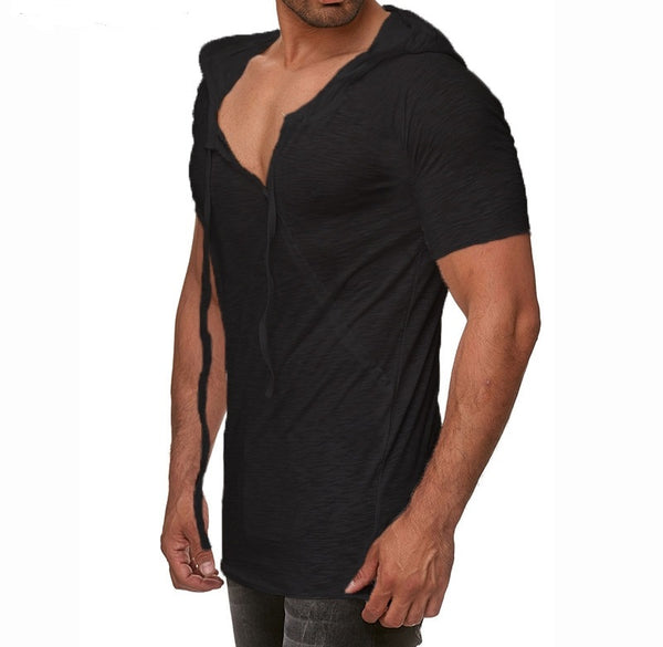 Men's t-shirt with hood and short sleeve 2 colors