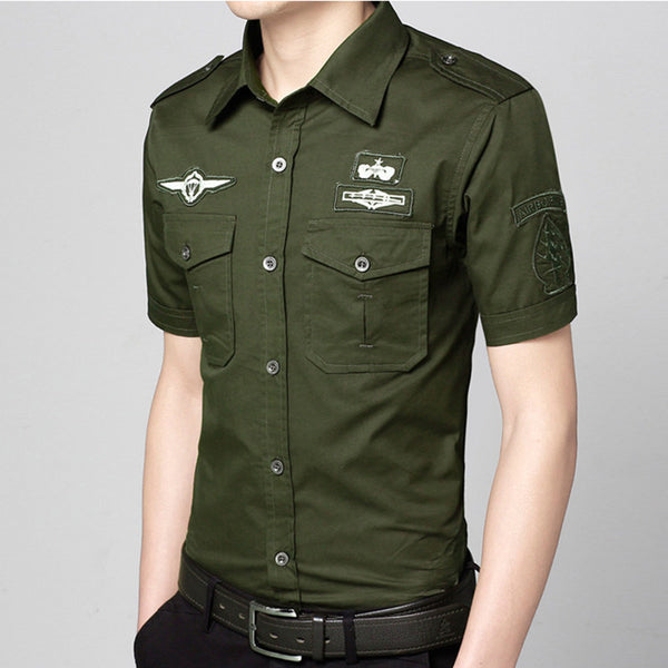 Men's Short sleeved shirt military uniform style 3 colors