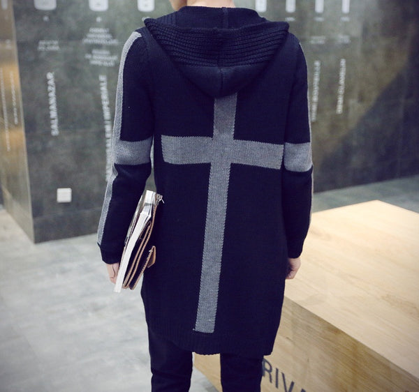 Mens Long Style Knitted Cardigan 2 colors