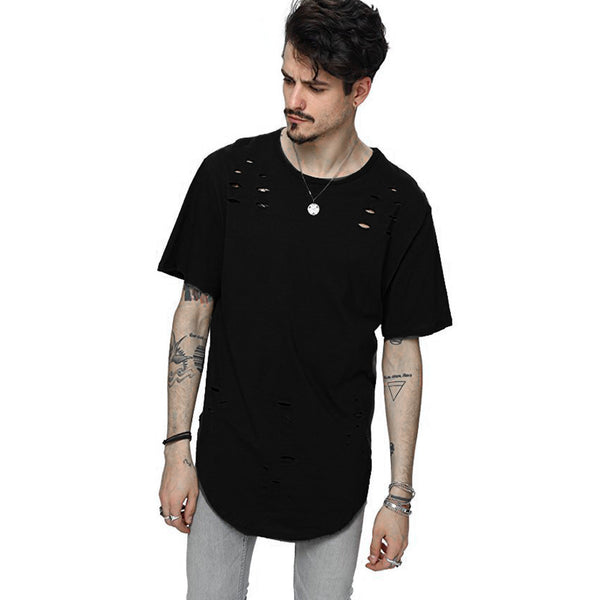 T-Shirt Mens Holes Hip Hop Short Sleeve 3 colors