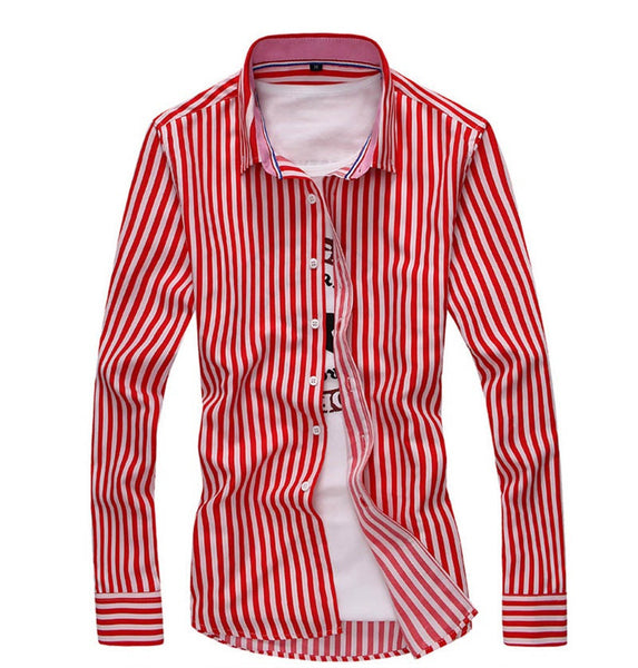 Striped classic mens shirt available in 3 colors Red/ Blue/ Black