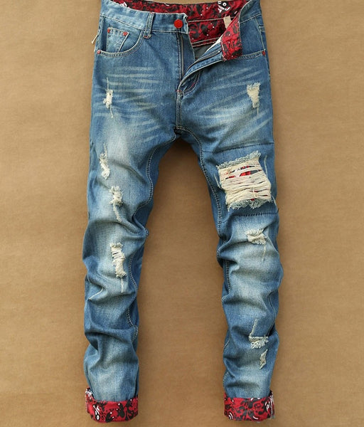 Mens Fashion Retro Ripped Jeans