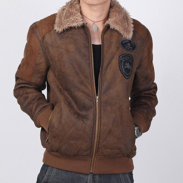 Mens  Leather Jacket Fur Winter/Autumn size XS - XXXL