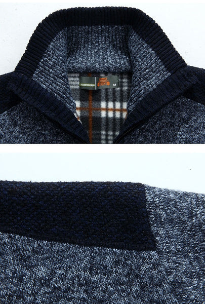 Sweater Mens Zipper Cashmere Wool 4 colors