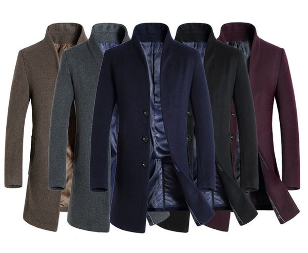Men  Long Coat wool Autumn / Winter/Spring available in 5 colors