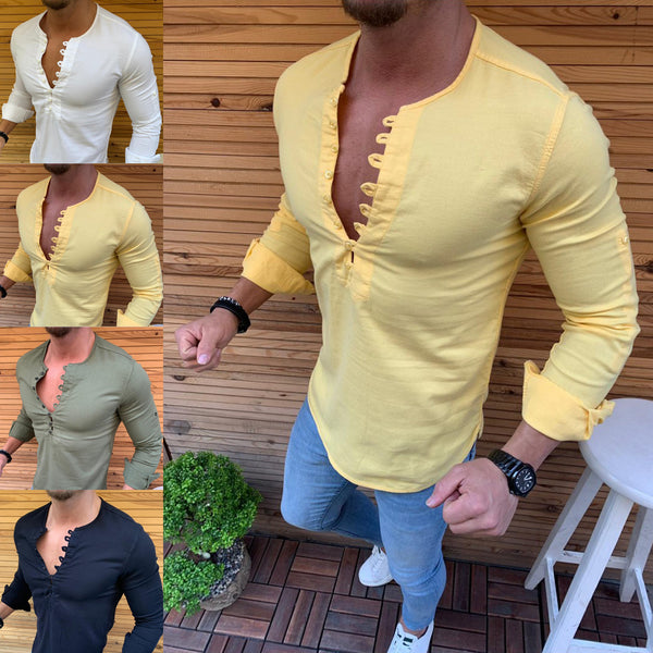 Men's casual long sleeve shirts 4 colors