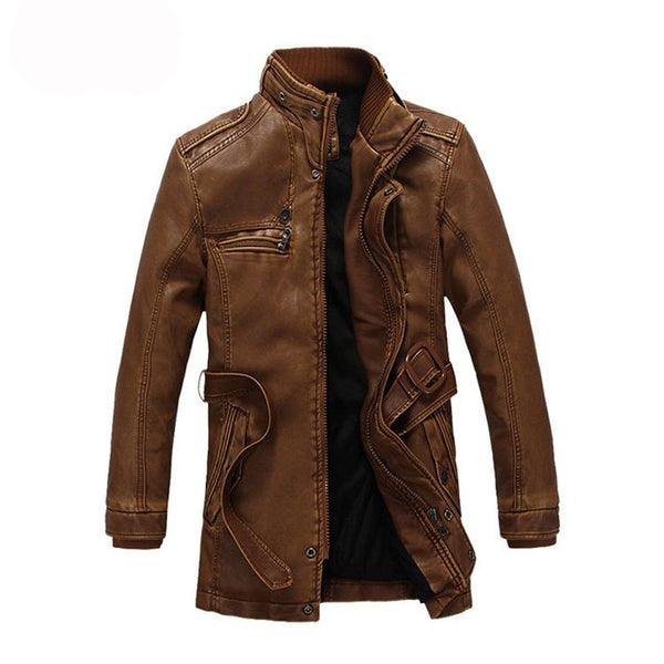 Warm Mens Leather Jaclket availabl3 in 3 colors Black/ Yellow/ Brown
