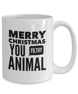 Merry Christmas You Filthy Animal mug