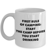 Camping Coffee mug -  First rule of camping, start the camp before you start drinking