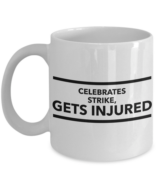 Bowling Coffee mug - Celebrates strike, Gets injured